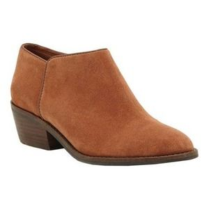 Lucky Brand Faithly Suede Ankle Booties Toffee